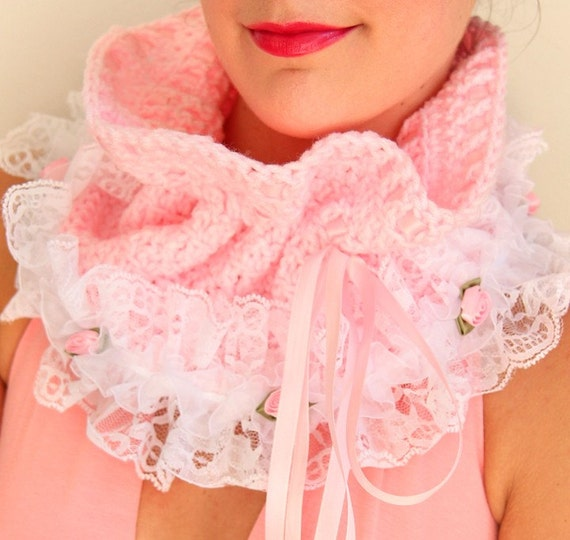 Cowl Neck Warmer - Victorian Style Fashion Collar in Pink with White Lace - Lots of Colors