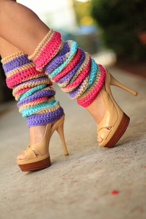 Fashion Leg Warmers In Colorful Flower Blossom Stripes By