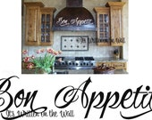 Bon Appetit  6x32   Kitchen  Vinyl Lettering Wall Sayings Quote