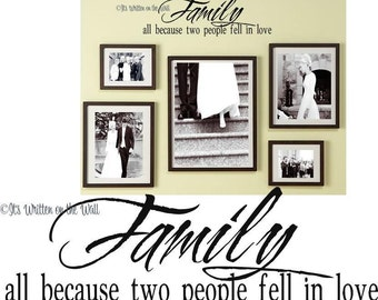 Family, all because two people fell in love / Love of Family / Love / Family Portrait Quote / Inspirational Quote / Vinyl Lettering Wall