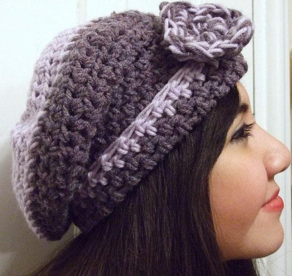 Violet Purple Lavender Slouchy Knit Beanie Cap Girls Cute Girly Hat