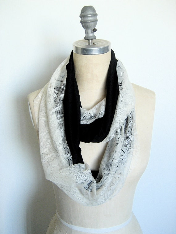 The Infinity Scarf, in Ivory Lace and Black