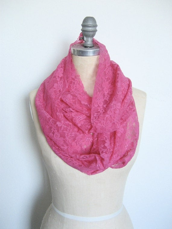 SALE Hot Pink Lace Infinity Scarf