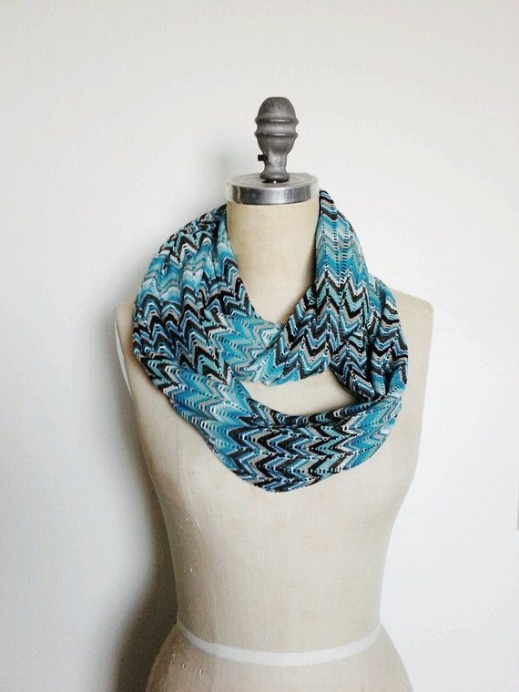 The Infinity Scarf, in Ocean Blue, Nautical Missoni Inspired Knit