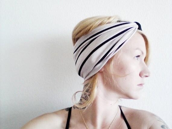 The Boho Turban Headband- In Oatmeal and Black Stripe