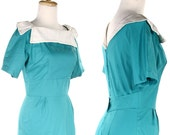 1950s Turquoise Wiggle Dress  - Sue Brett Vintage Blue Green Pencil Dress w/ White Removable Collar - sz Small