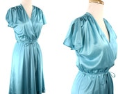 1980s Aqua Blue Polka Dot Dress - Deep V Neck Wrap Vintage Turquoise Disco Dress - size Medium