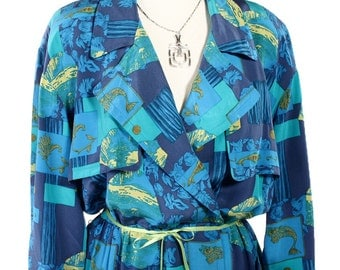 1980s Silk Print Nordstrom Petite Day Dress - Deep Sea Vintage Blue & Green w/ Gold Accents- sz S/M