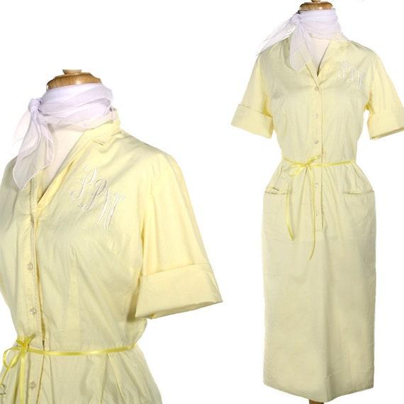 1950s Monogram Day Dress w Free Scarf - Vintage Yellow Shirtwaist  - size Medium
