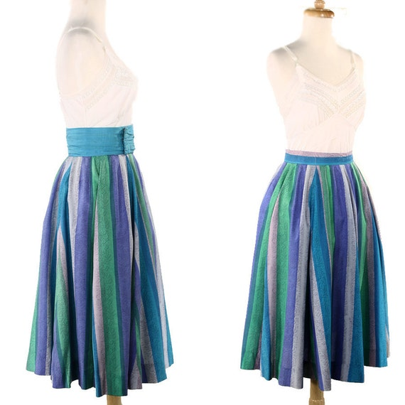 1950s Silk Circle Skirt  - Vintage Floral Stripes w/ Cummerbund Belt  - size Small