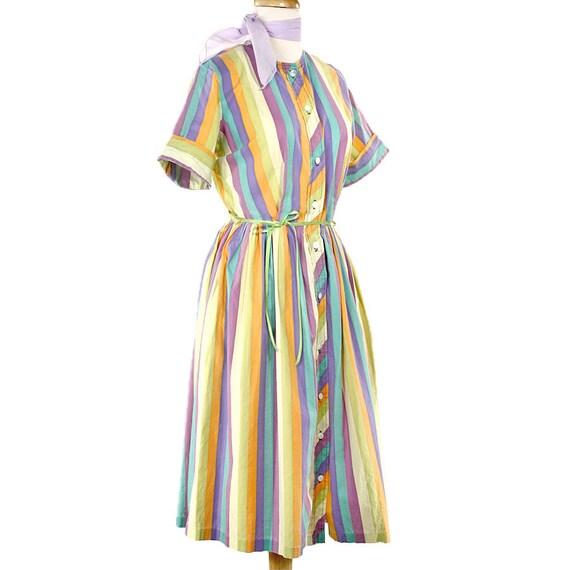 Sherbet Stripes - 50s Vintage Shirtwaist  Dress - size Medium