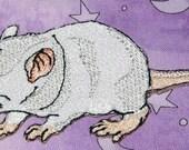 Fancy Albino Baby Rat Pup Hopper Self  Rat Steam Punk  Iron on Patch