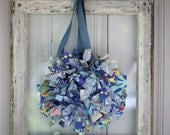 Set of 2 Paradise Blue Small Sized Rag Wreath with Amy Butler Fabric