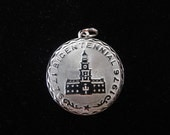 Bicentennial 1776-1976 Independence Hall- Vintage Sterling Silver Charm- Independence Day, 4th of July, USA Charm, United States of America