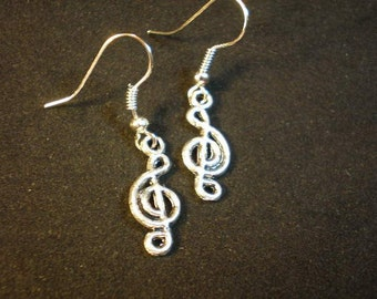 Music Treble Clef Silver Charm Dangle Earrings- Music Earrings, Treble Clef Earrings, Music Jewelry, Band Earrings, Chorus Music Students