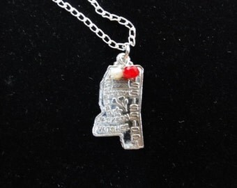 Mississippi State Bulldogs Necklace- Vintage Sterling Silver Mississippi Map Charm- Pendant Red & White Beads- Mississippi State Necklace