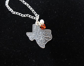 Texas Longhorns Necklace, Texas State Map Sterling Silver Map Charm, Burnt Orange & White Beaded Pendant, Texas Necklace, Texas Charm