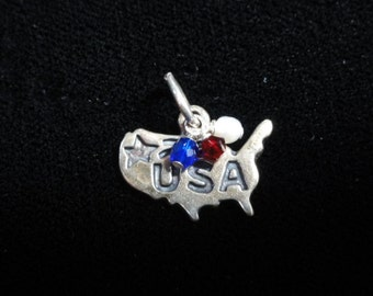 """USA Map Necklace, Sterling Silver United States of America MAP Charm with Red, White & Blue Bead- USA Charm Pendant 18"""" Chain Necklace"""