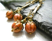 Pumpkins Earrings, Rust Czech Glass, Antiqued Brass, Vintage Style Chain, Tiny Green Glass Beads