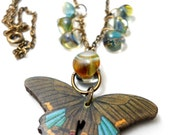 Butterfly Lampwork Glass Necklace, Aqua Green Glass Borosilicate beads, brass chain, wooden butterfly