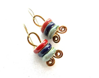 SALE Ceramic and Brass Earrings, Elaine Ray Ceramic Washers and Coiled Antiqued Brass, Rustic Earrings, Spring Fashion