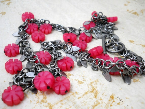 Buri Fringe Neckace, Pink Buri Nut Flowers, Antiqued Silver Fringe Chain, Floral Fashion, Neon Jewelry