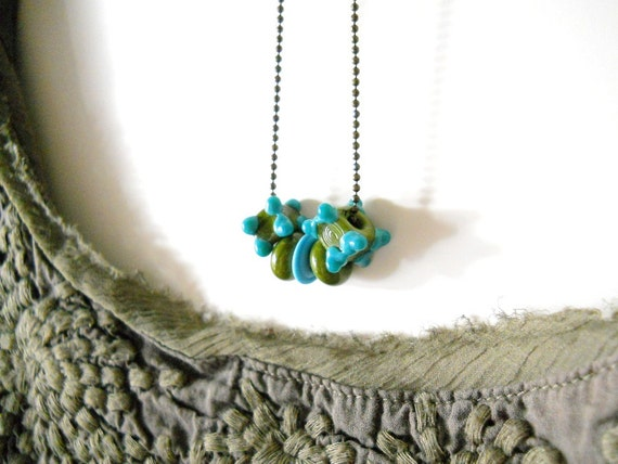 Turquoise Beaded Lampwork Glass Necklace, Olive Green, Antiqued Brass, Summer Fashion, Beach Jewelry