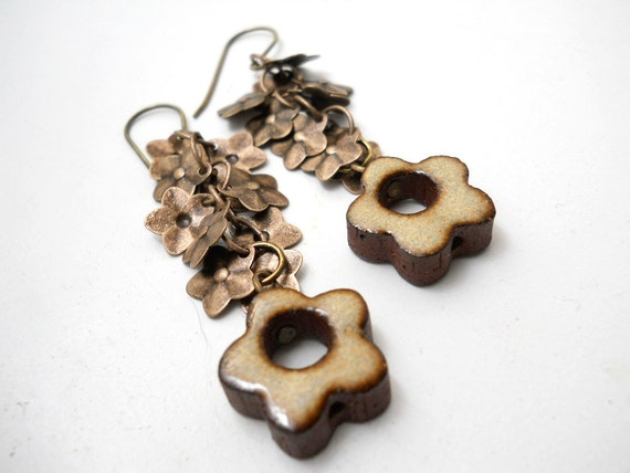 Rustic Ceramic Flower and Floral Fringe Earrings, Elaine Ray Ceramic Flower, Bridal Jewelry, Floral Fashion