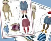 Paper Dolls - Sock Monkeys - PDF Download