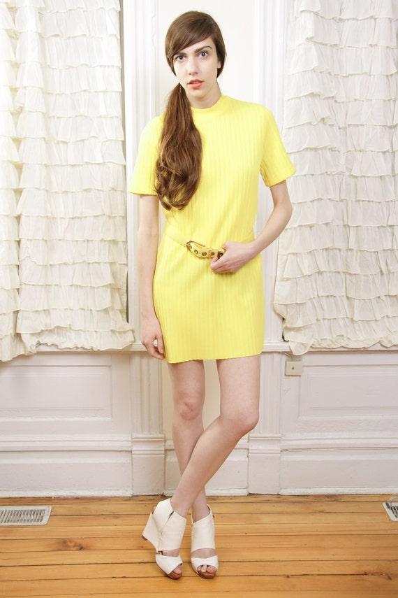 Vintage 1970s June Bug Yellow Mini Dress S / M