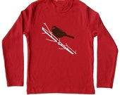 Sale Red Bird on branch Songbird children nature Shirt, screen print, dark brown birdie and white tree tee, baby infant size 6-12m t-shirt