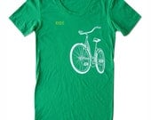 Ride a Bike Shirt, Women's Kelly Green short sleeve, sexy scoop neck, old school schwinn