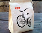 Eco Lunch Sack with RIDE A BIKE bicycle design, Recycled Cotton Canvas Lunch Bag with Handle - alittlelark