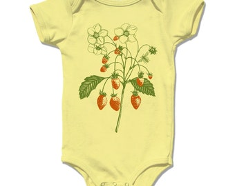 Baby Bodysuit, Baby Clothes, baby girl, baby clothing, strawberry onesie Baby One Piece infant botanical summer fruit berry flowers garden