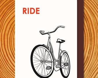 Ride a BIKE letterpress card, blank inside, old school schwinn, perfect for almost any use.