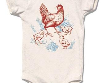Organic Farm Chicken Infant Bodysuit, organic cream short sleeve, baby and kids sizes, Hen & Chicks design, urban farm, French chickens