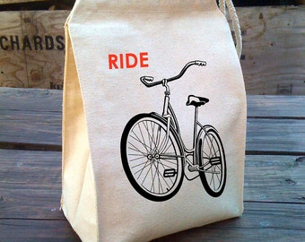 Lunch Bag, Eco Lunch Sack Cloth lunch bags, Bike lunch bag with RIDE A BIKE bicycle design, Recycled Cotton Canvas Lunch Bag with Handle