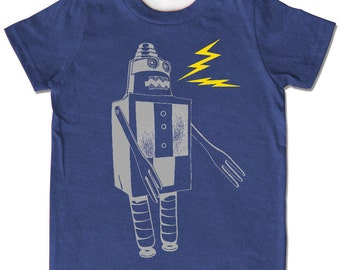 Indigo Build a Robot t-shirt, short sleeve shirt, chidren kids sizes, chose from gray or organic cream, original screenprint, sci-fi sparks