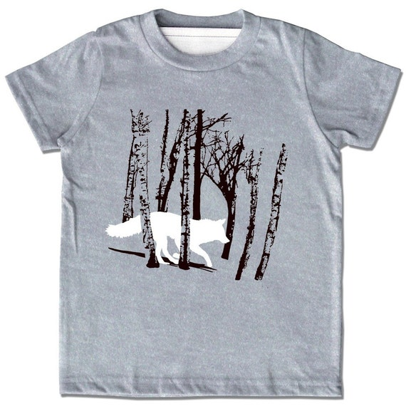 Kids Fox Shirt, fox t shirt, Wolf in the Woods Shirt, monochrome, woodland shirt, teen wolf, dire wolf shirt, tween shirt, gift for teen boy