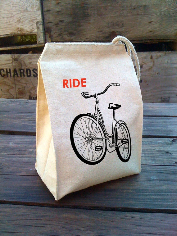 Eco Lunch Sack with RIDE A BIKE bicycle design, Recycled Cotton Canvas Lunch Bag with Handle