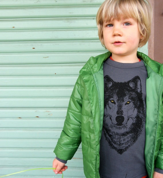 Wolf Shirt, asphalt grey screenprint, woodland design, spooky werewolf, glitter gold eyes, long sleeve, infant and youth sizes