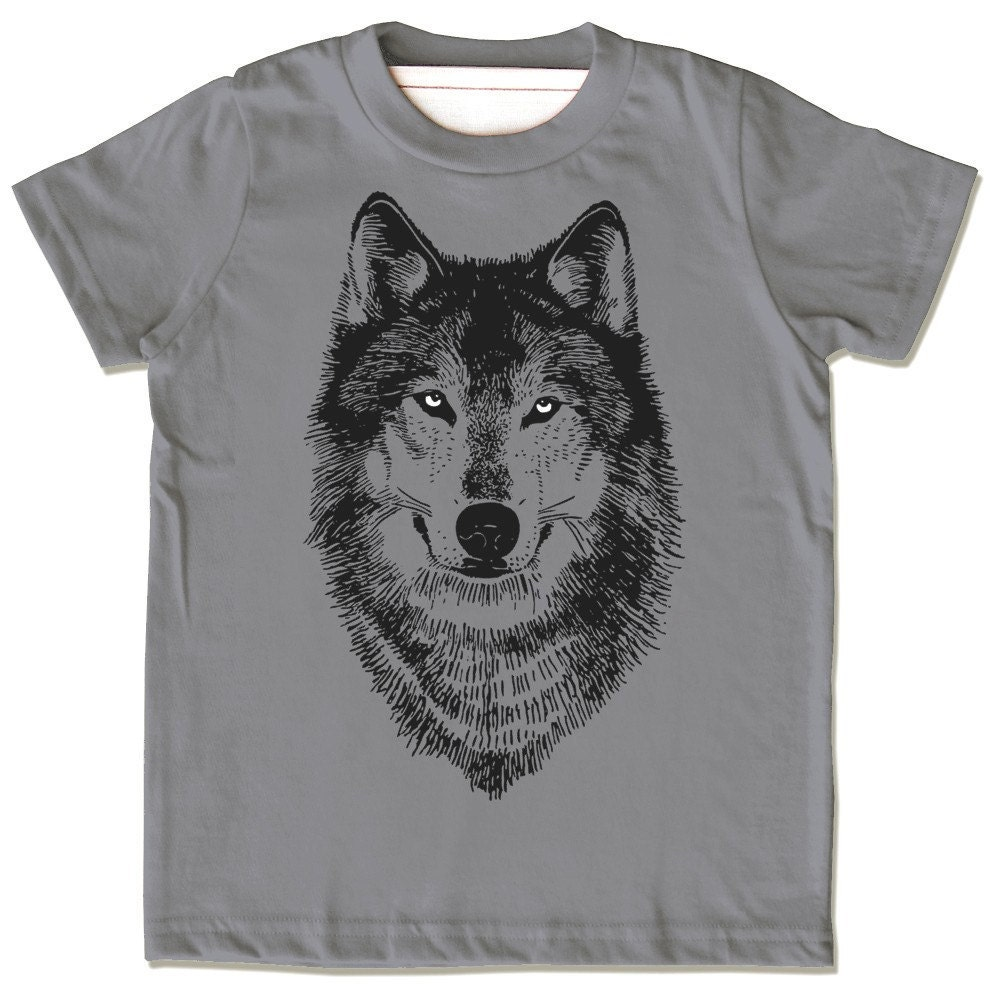wolf shirt wolf children 39 s clothes wolf face shirt. Black Bedroom Furniture Sets. Home Design Ideas
