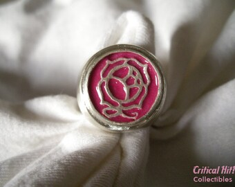 Rose Duelist Ring - Sterling Silver - Cosplay Jewelry - anime shojo cute pink