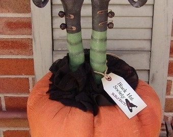 Primitive Halloween pattern, Black Hat Society Reject Witch pattern, witch legs in pumpkin, witch pattern, Halloween decor, HFTH165