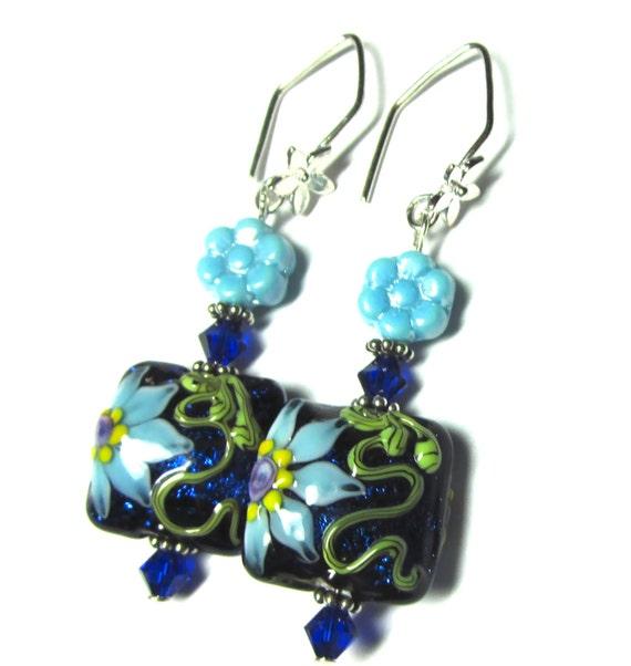Blue Flower Earrings Lampwork Earrings Blue Earrings Floral Earrings Glass Earrings Artisan Earrings Beaded Earrings Pillow Bead Earrings