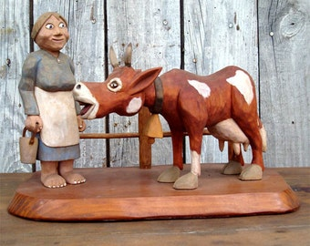 """FOLK ART CARVING """"Milking the Cow"""" 1980"""
