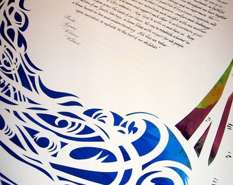 Waterfall Ketubah with Birches as border