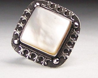 Mother of Pearl Sterling Ring Size 8  Free US Shipping