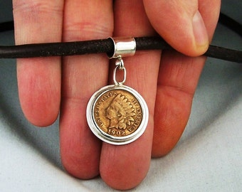 Indian Head Penny Sterling Silver Pendant Leather Necklace Order your size and year