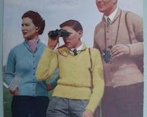 Vintage 1950s Knitting Pattern - Unisex Cardigan / Lumber Jacket for Women Men Boys - 50s original pattern Marriner's No. 328 UK